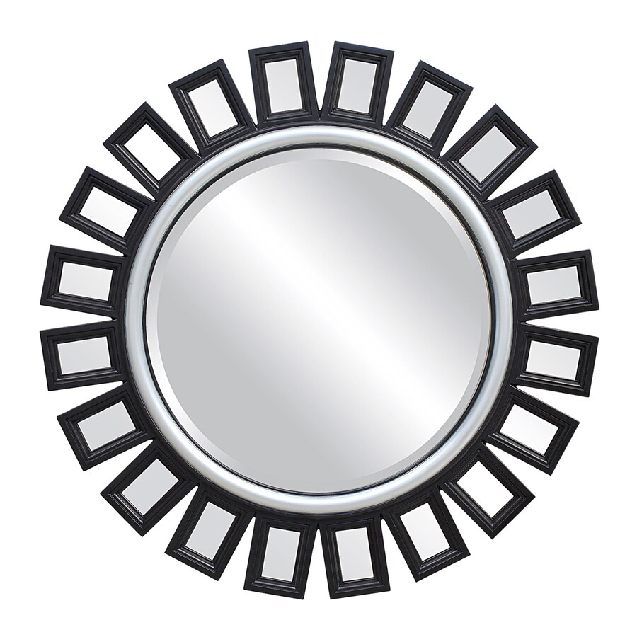 Shop coaster fine furniture 36 in x 36 in black beveled for Round black wall mirror