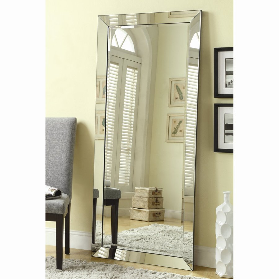 shop mirrors at lowescom - coaster fine furniture silver beveled frameless floor mirror