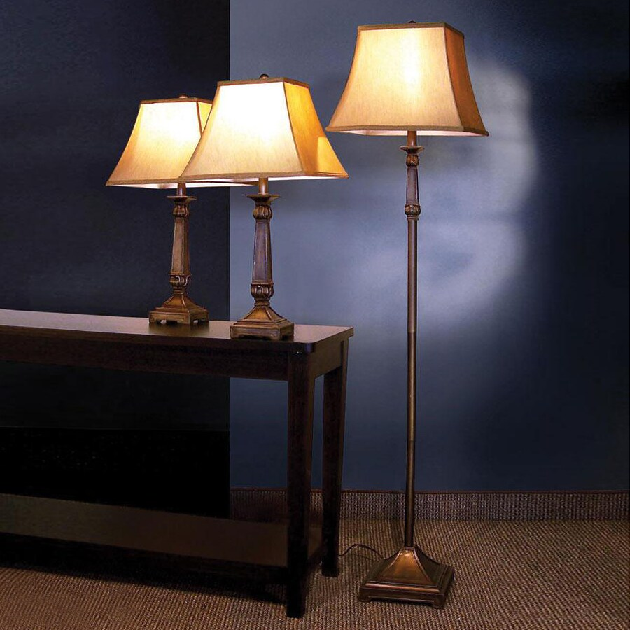 Coaster Fine Furniture 3-Piece Brown Lamp Set with Fabric Shades