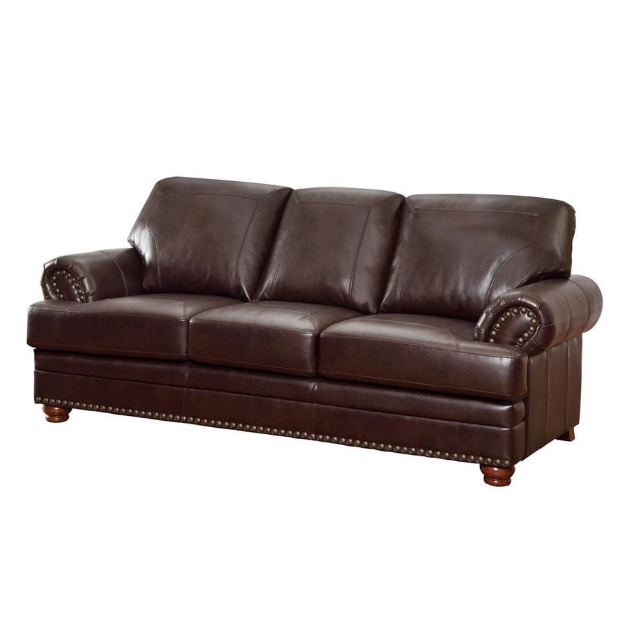 Shop coaster fine furniture colton brown faux leather sofa for Fine furniture