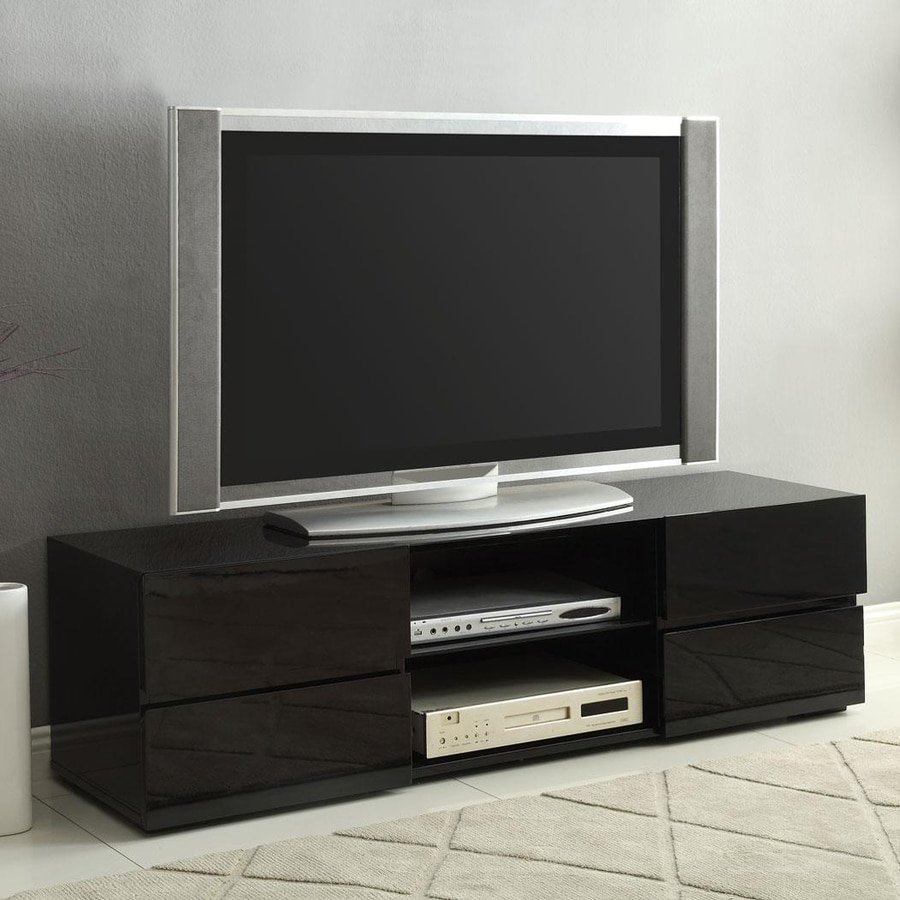 tv stand black shop coaster furniture high gloss black rectangular 29293