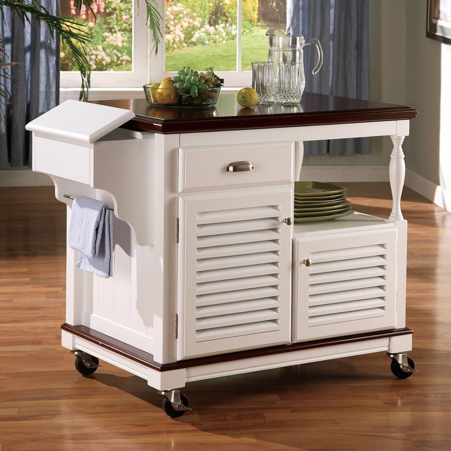 Go Home Black Industrial Kitchen Cart At Lowes Com: Shop Coaster Fine Furniture White Farmhouse Kitchen Island