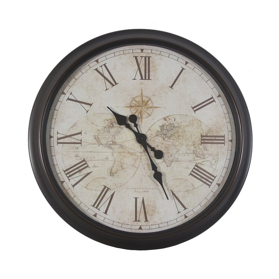 Decor Therapy Antique Map Analog Round Indoor Wall Clock