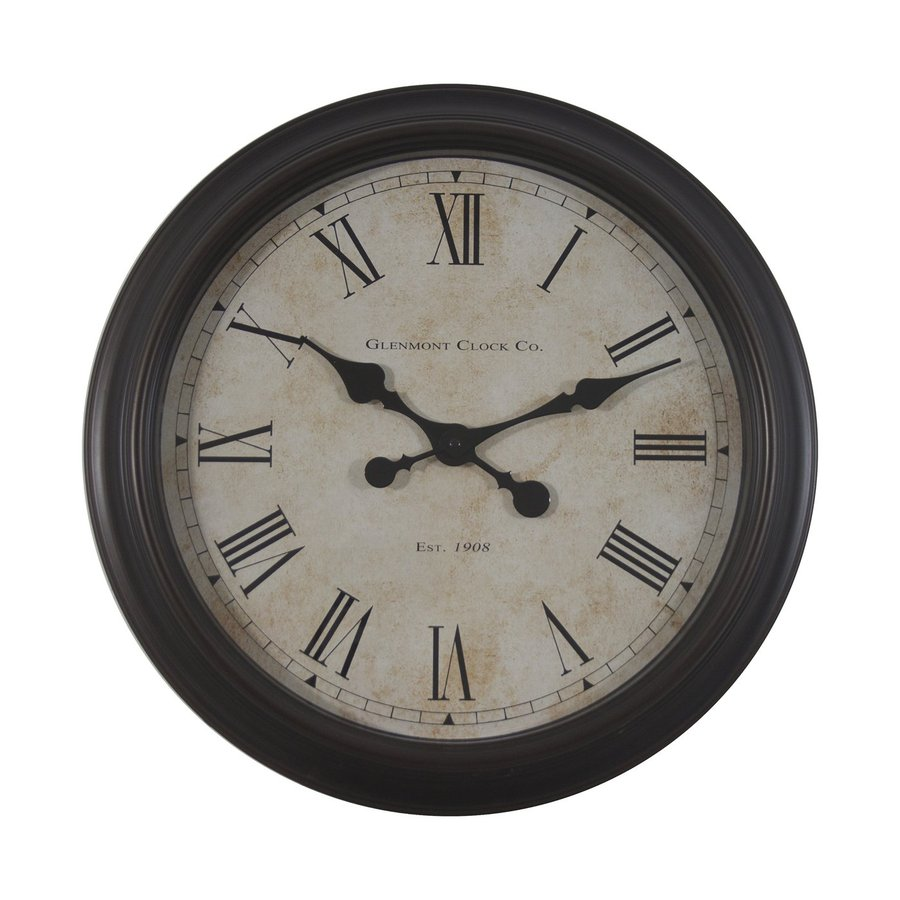 Decor Therapy Glenmont Global Analog Round Indoor Wall Clock