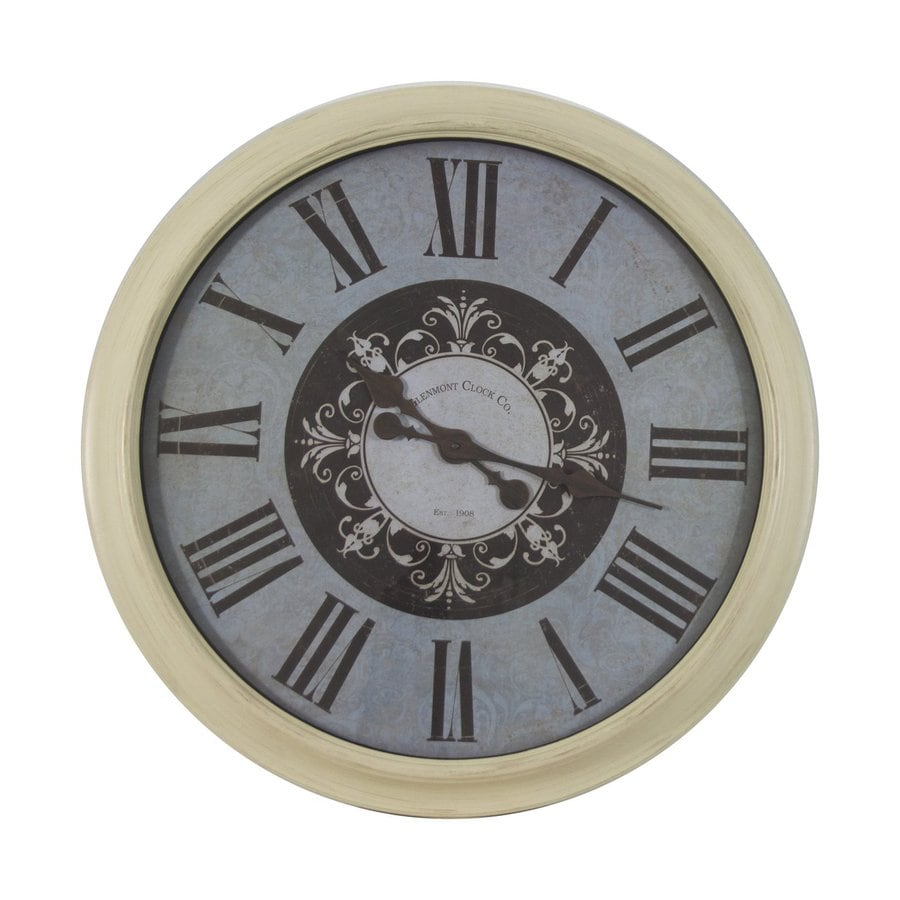 Decor Therapy Glenmont Distressed Analog Round Indoor Wall Clock