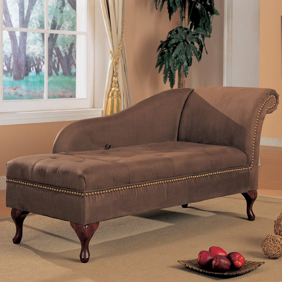 Shop coaster fine furniture brown microfiber chaise lounge for Brown microfiber chaise lounge