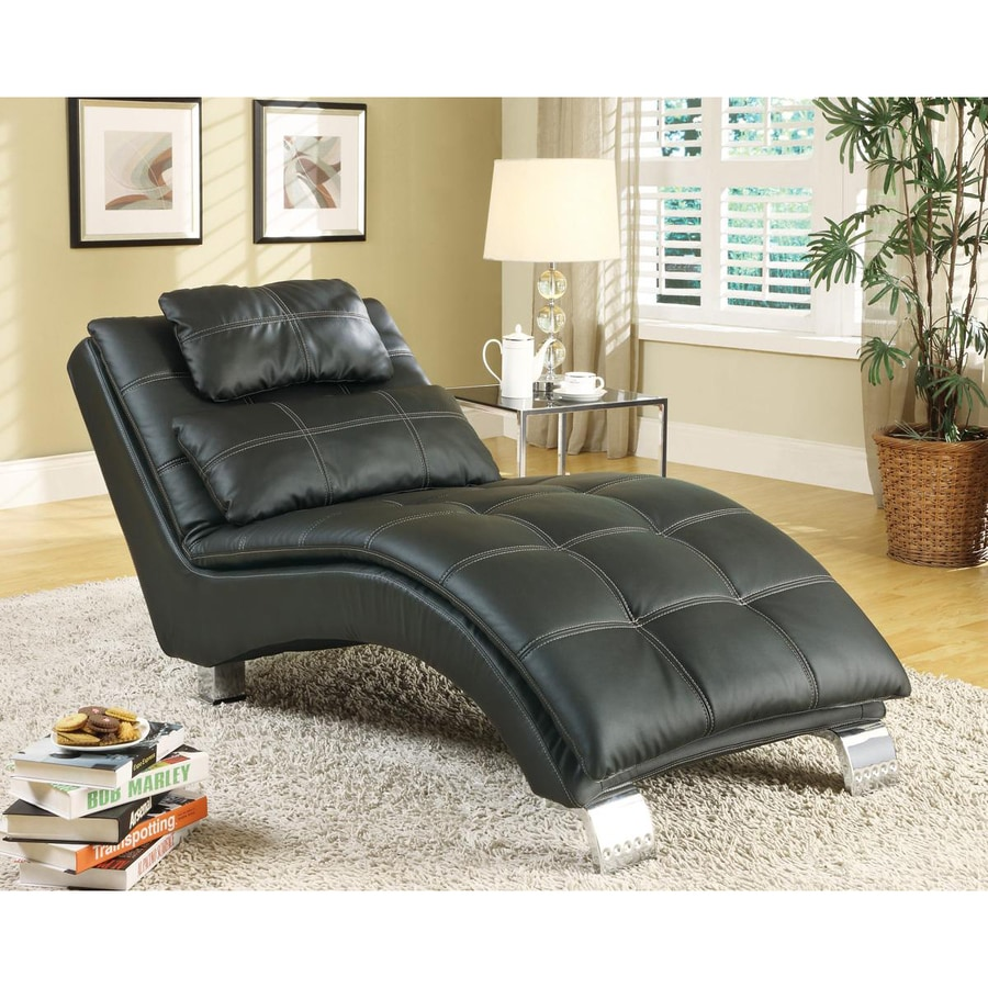 Shop coaster fine furniture modern black vinyl chaise for Contemporary chaise lounge sofa