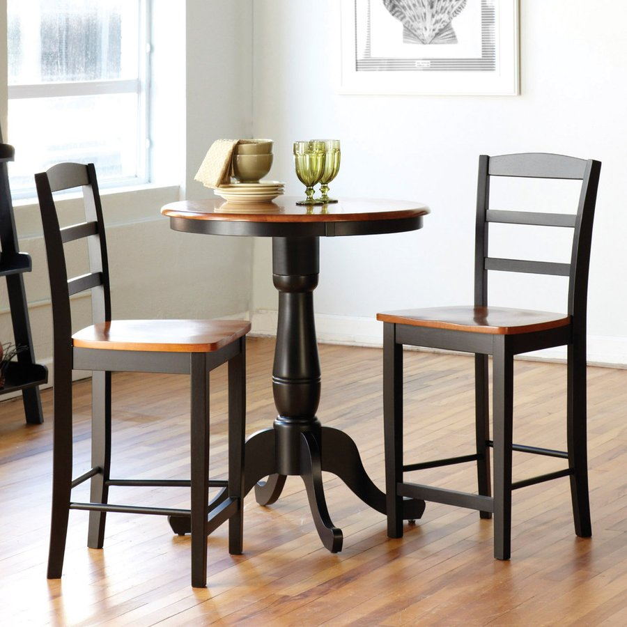 Black And Cherry Round Table And Two Dinette Chair 3 Piece: International Concepts Cherry/Black 3-Piece Dining Set