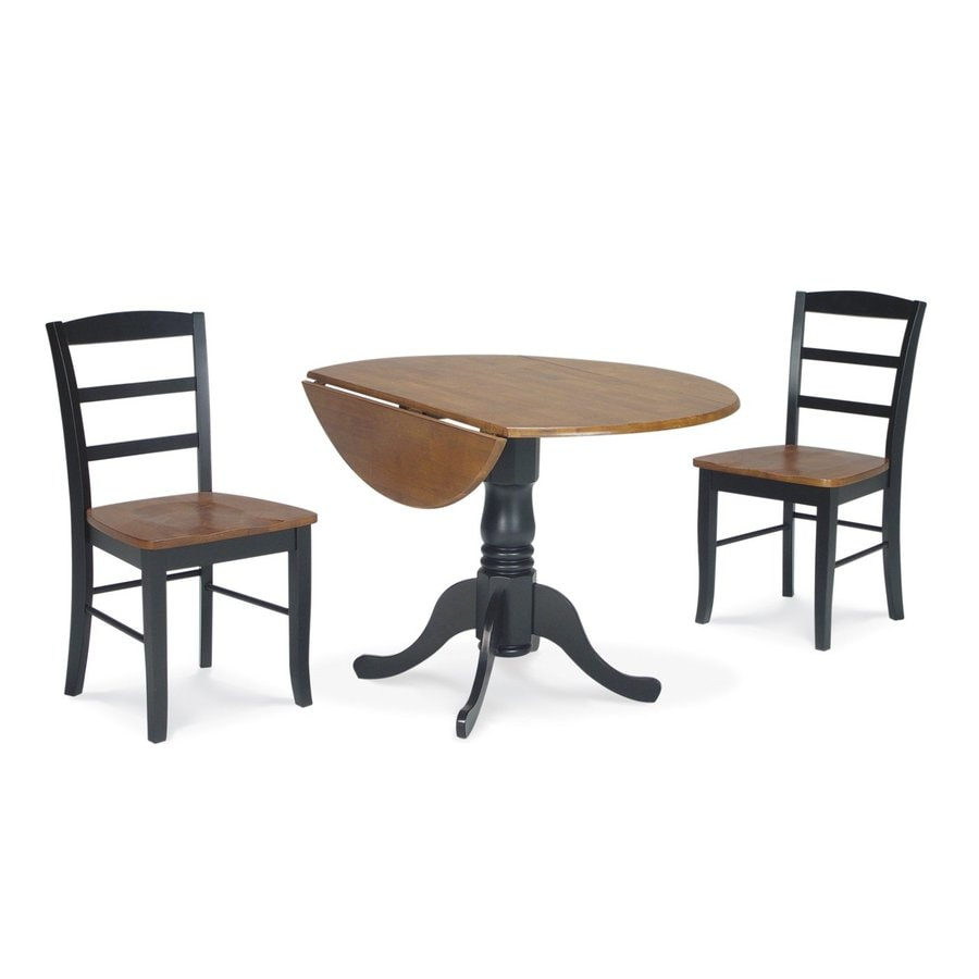Shop international concepts cherry black dining set with for Black round dining table