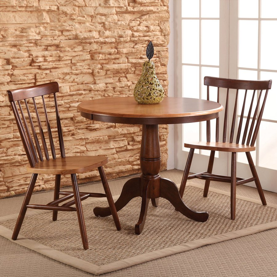 International Concepts Cinnamon/Espresso 3 Piece Dining Set With Round Dining  Table