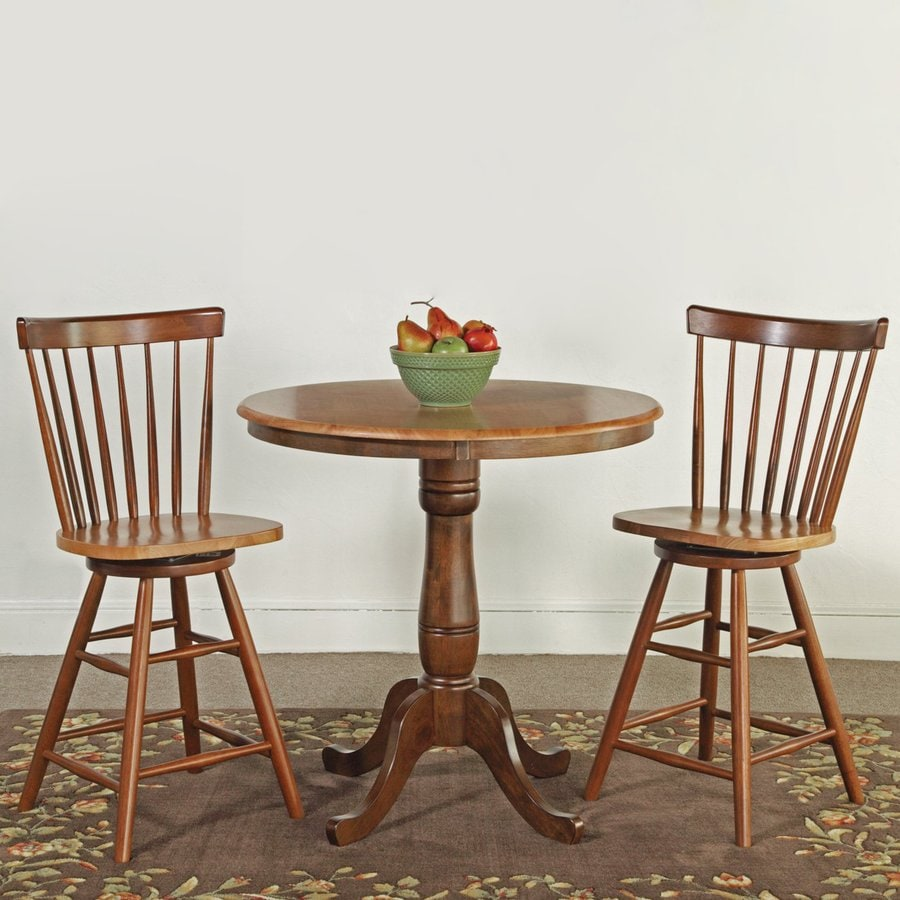 International Concepts Cinnamon/Espresso 3-Piece Dining Set with Round Counter Height Table