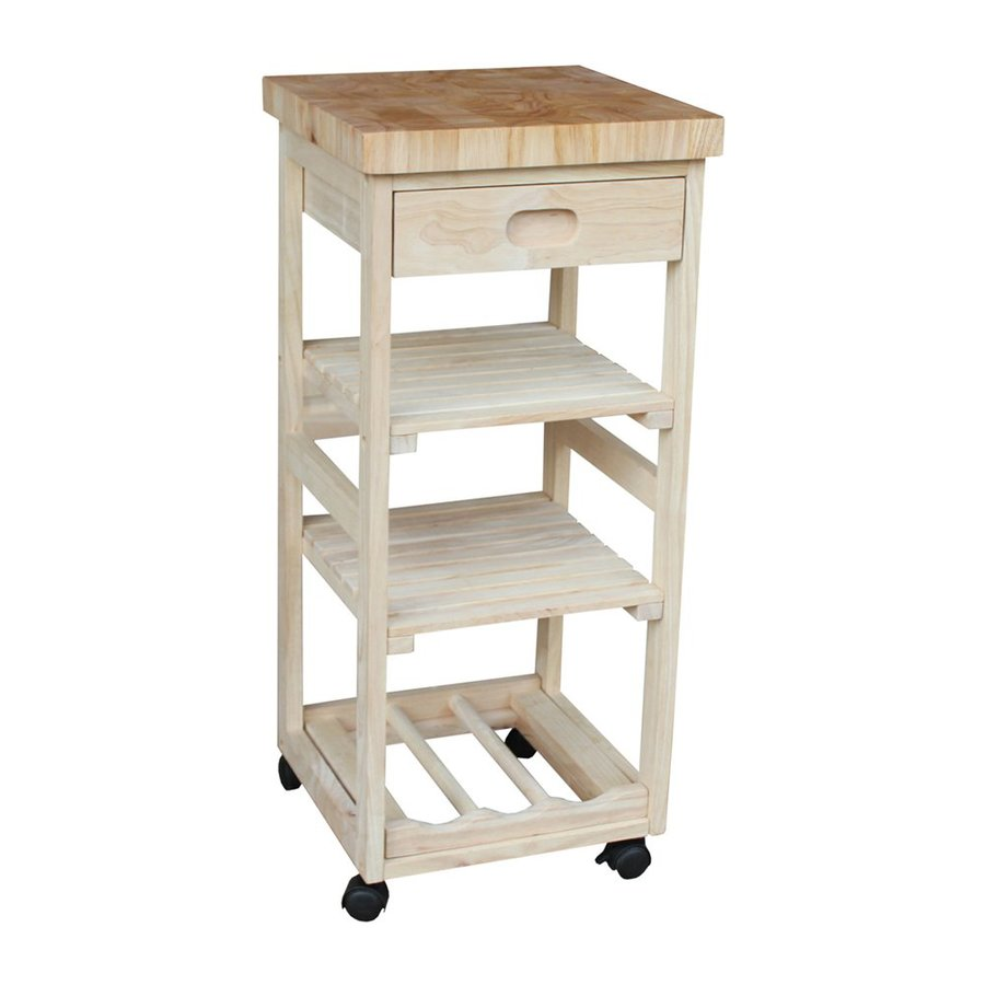 International Concepts Natural Rubber Kitchen Cart