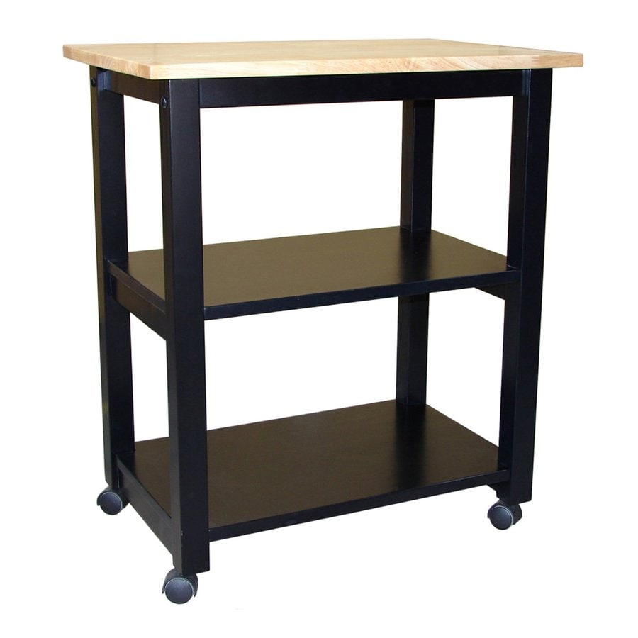 International Concepts Natural/Black Rubber Kitchen Cart