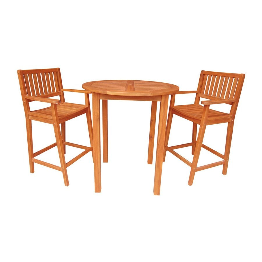 International Concepts 3-Piece Natural Acacia Bar Patio Dining Set