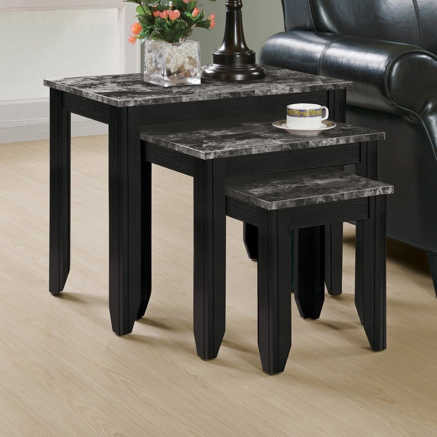 Monarch Specialties 3-Piece Black/Grey Accent Table Set