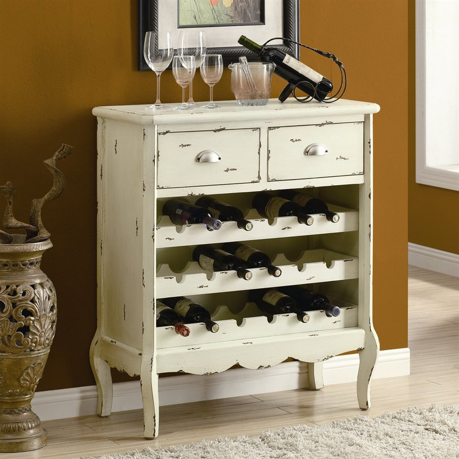 Shop Monarch Specialties Antique White 18-Bottle Wine Cabinet at ...