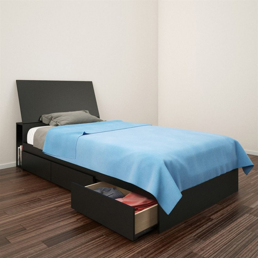 Details About White 3 Piece Storage Drawers Twin Bed Box: Shop Nexera Avenue Black Twin Platform Bed With Under-Bed