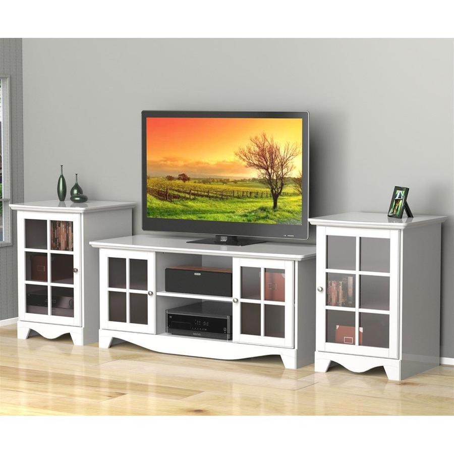 Nexera Pinnacle White Rectangular TV Cabinet Set