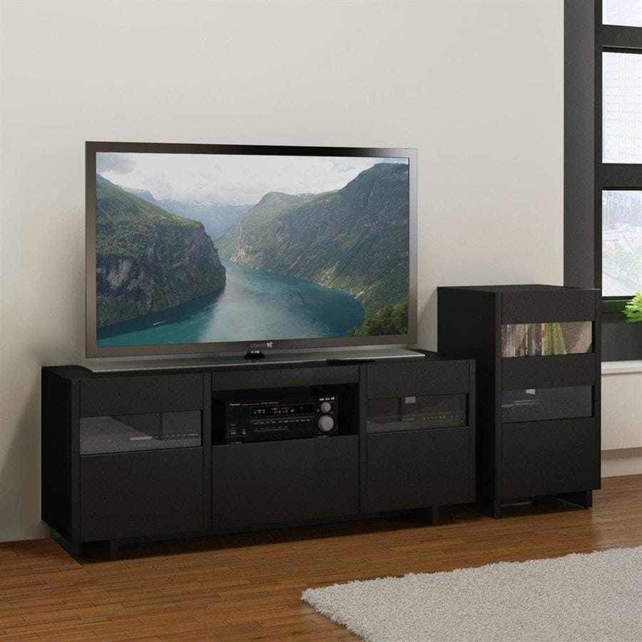 Nexera Vision Black Rectangular TV Cabinet Set