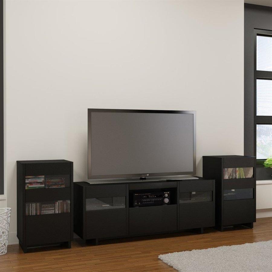 Shop nexera vision black rectangular tv cabinet set at for Mural vision tv