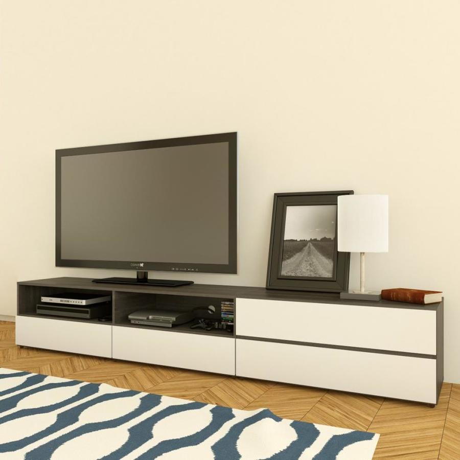 Nexera Allure White/Ebony Rectangular TV Cabinet Set