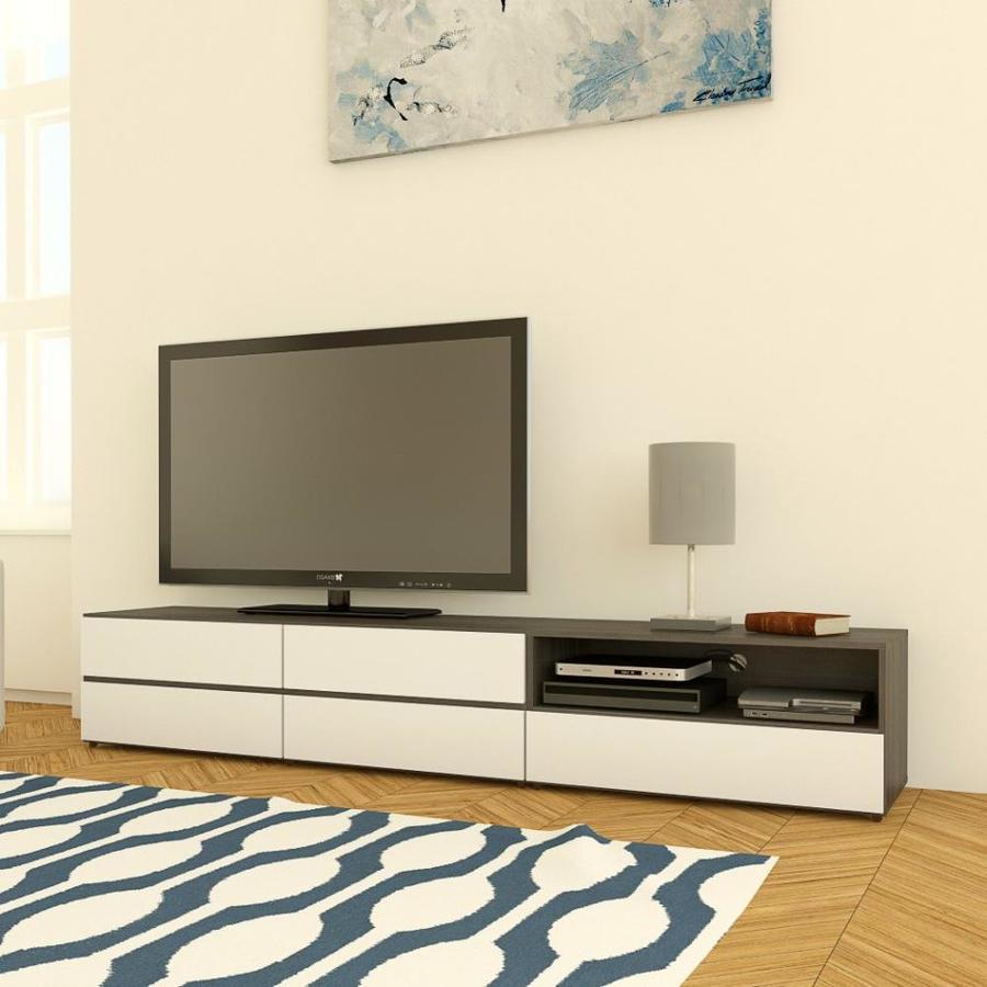 Nexera Allure White Ebony Rectangular Television Cabinet