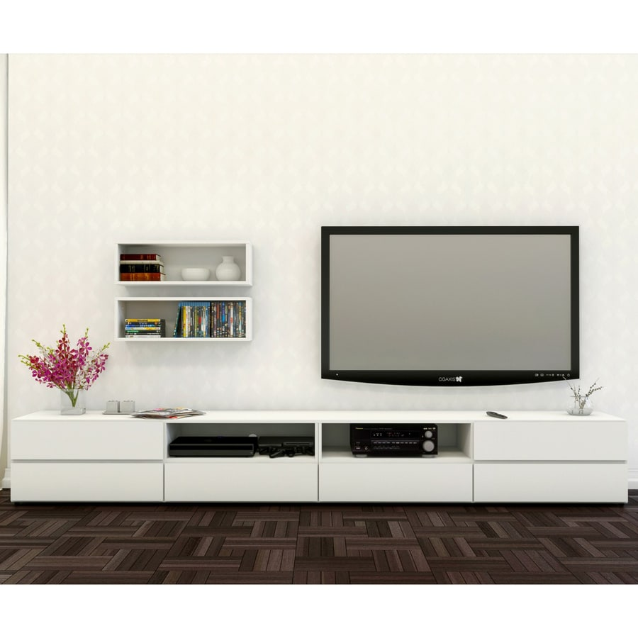 Nexera BLVD White Rectangular TV Cabinet Set