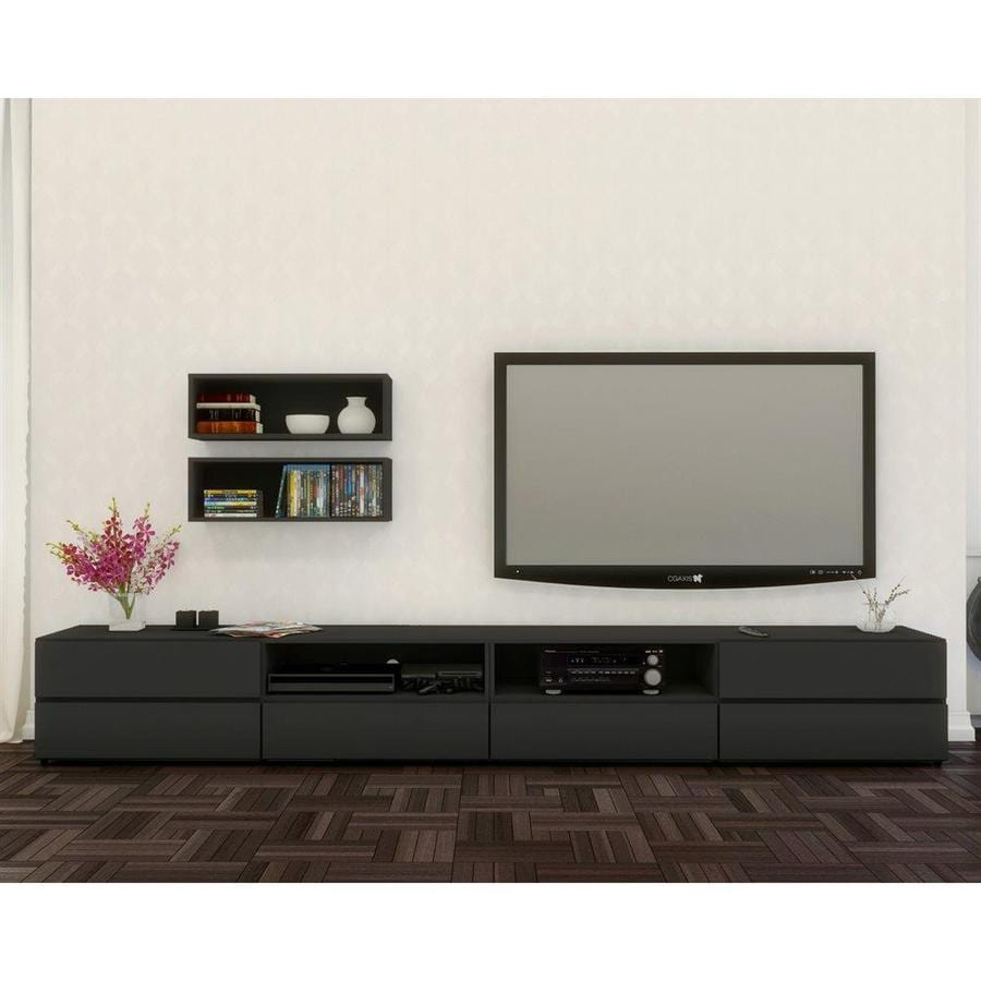 Nexera Avenue Black Rectangular TV Cabinet Set