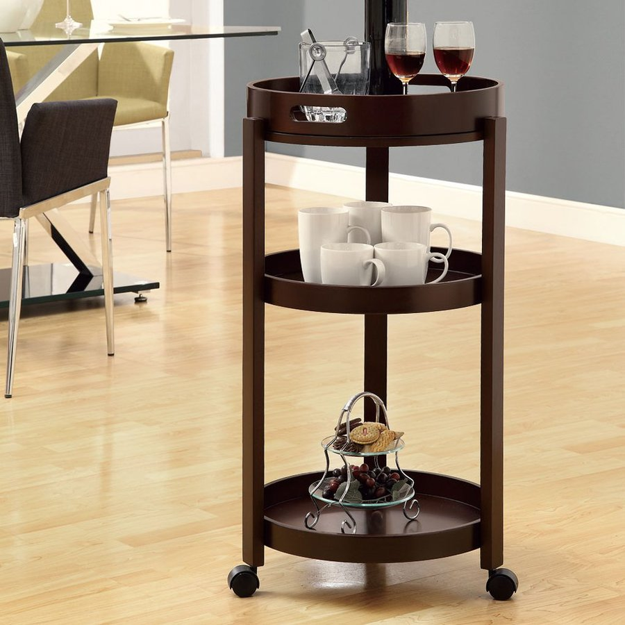 Monarch Specialties Cappuccino Round Kitchen Cart