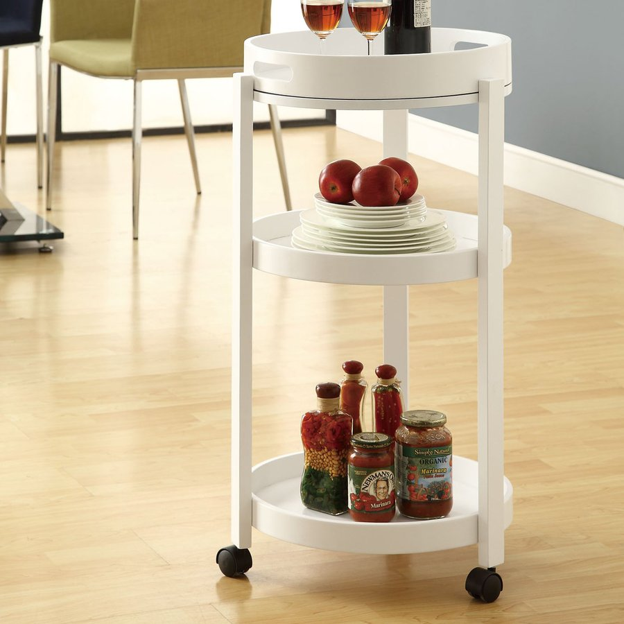 Monarch Specialties White Round Kitchen Cart