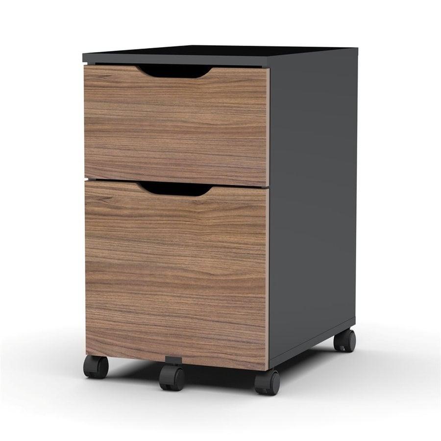 Nexera Next Walnut/Black 2-Drawer File Cabinet