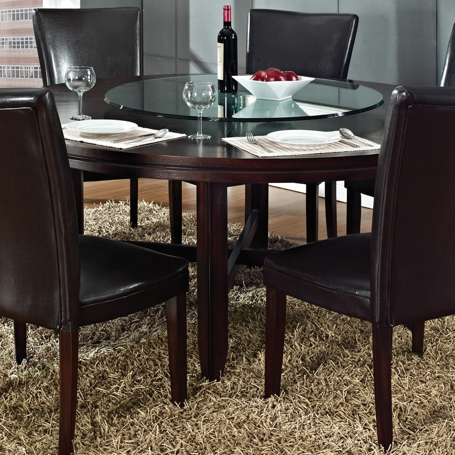 Steve Silver Company Hartford Burnished Dark Oak Wood Round Dining Table
