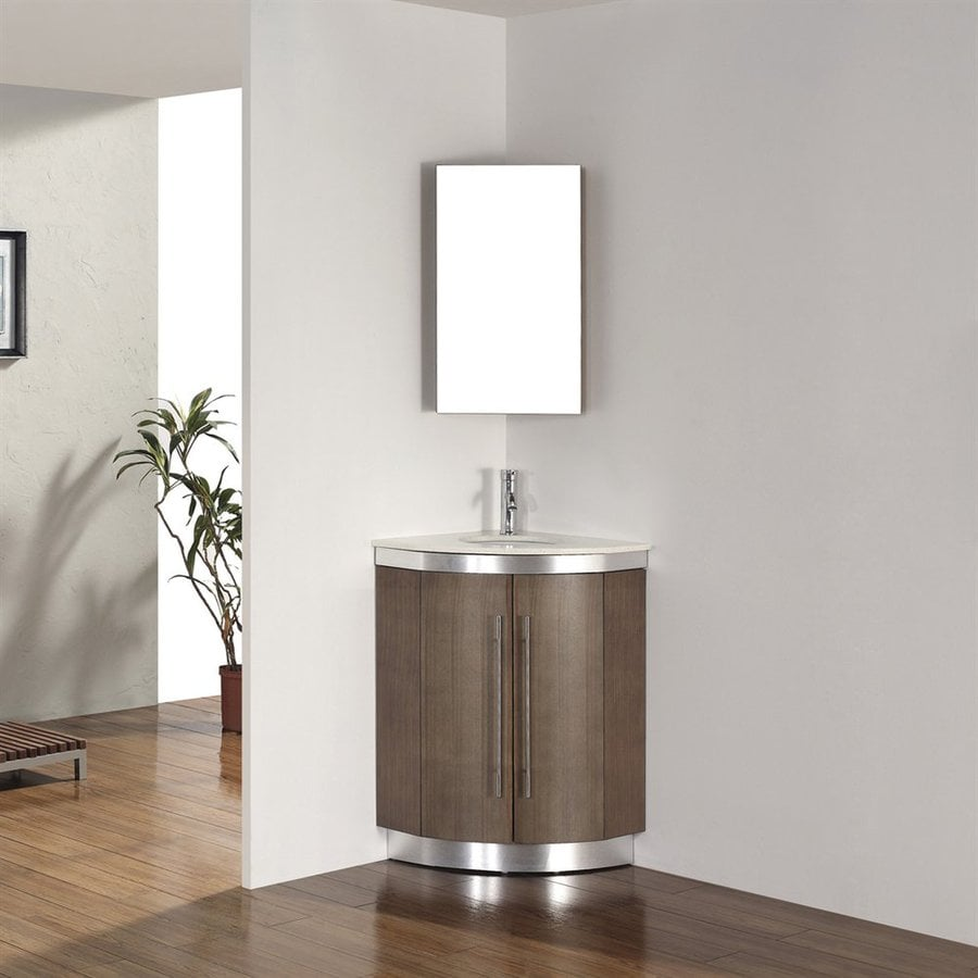 Spa Bathe Delucia Smoked Ash (Common: 24-in x 24-in) Undermount Single Sink Bathroom Vanity with Quartz Top (Mirror Included) (Actual: 24-in x 24-in)