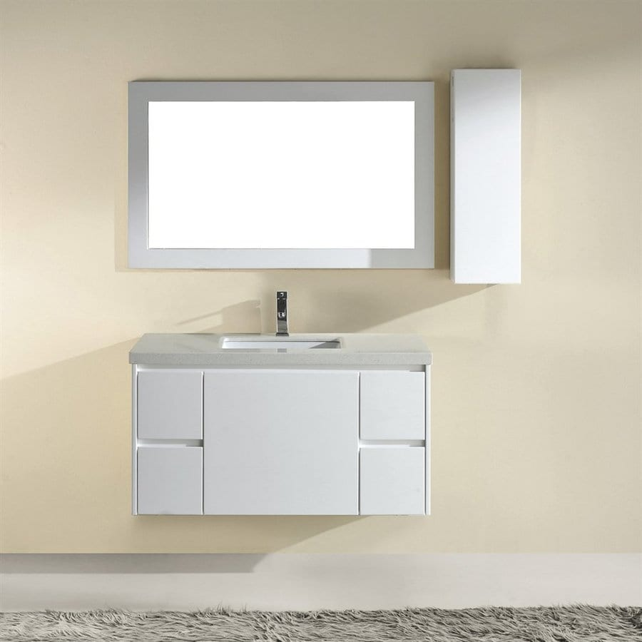 Spa Bathe Bach High-Gloss White Undermount Single Sink Bathroom Vanity with Quartz Top (Common: 42-in x 22-in; Actual: 42-in x 22-in)