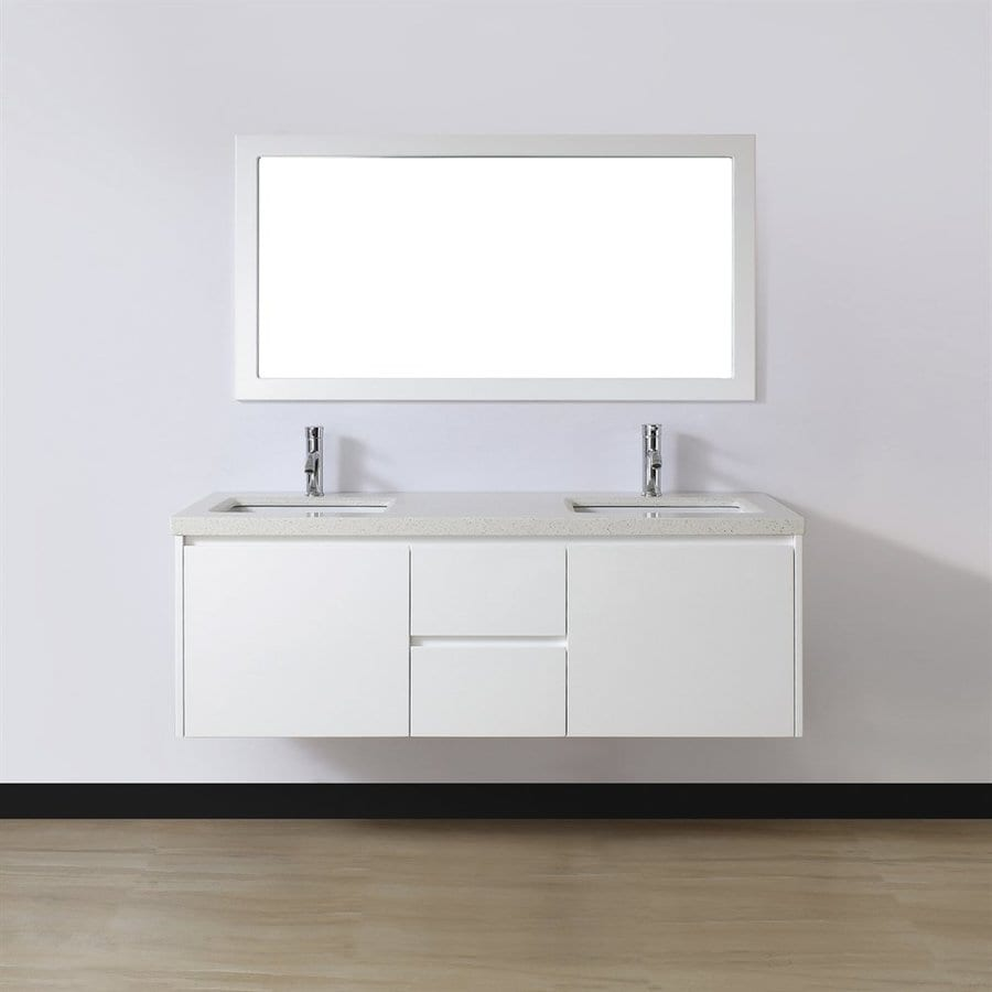 Spa Bathe Bach 60-in White Glossy Undermount Double Sink Bathroom Vanity with Quartz Top (Mirror Included)