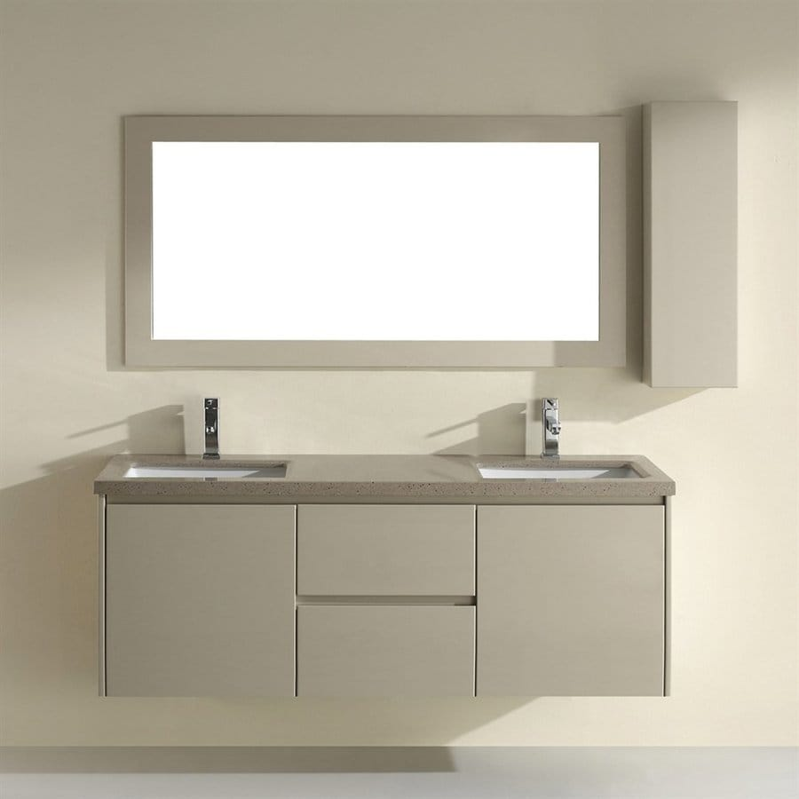 Shop spa bathe bach high gloss light brown undermount for Bathroom quartz vanity tops