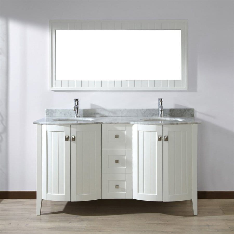 Spa Bathe Beaumont White 60-in Undermount Double Sink Bathroom Vanity with Natural Marble Top (Mirror Included)
