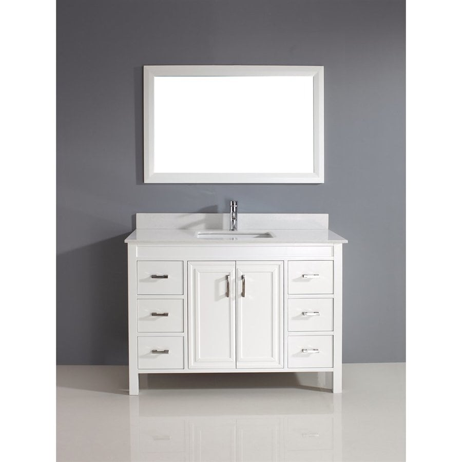 Spa Bathe Cora White 47.75-in Undermount Single Sink Bathroom Vanity with Engineered Stone Top (Mirror Included)