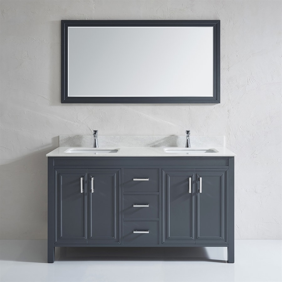 Shop spa bathe cora french gray undermount double sink bathroom vanity with engineered stone top - Double bathroom vanities granite tops ...