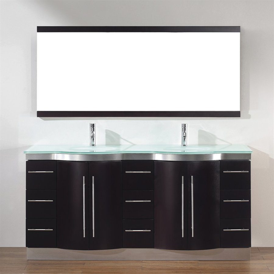 Spa Bathe Delucia Chai (Common: 72-in x 22-in) Integral Double Sink Bathroom Vanity with Glass Top (Mirror Included) (Actual: 72-in x 22-in)