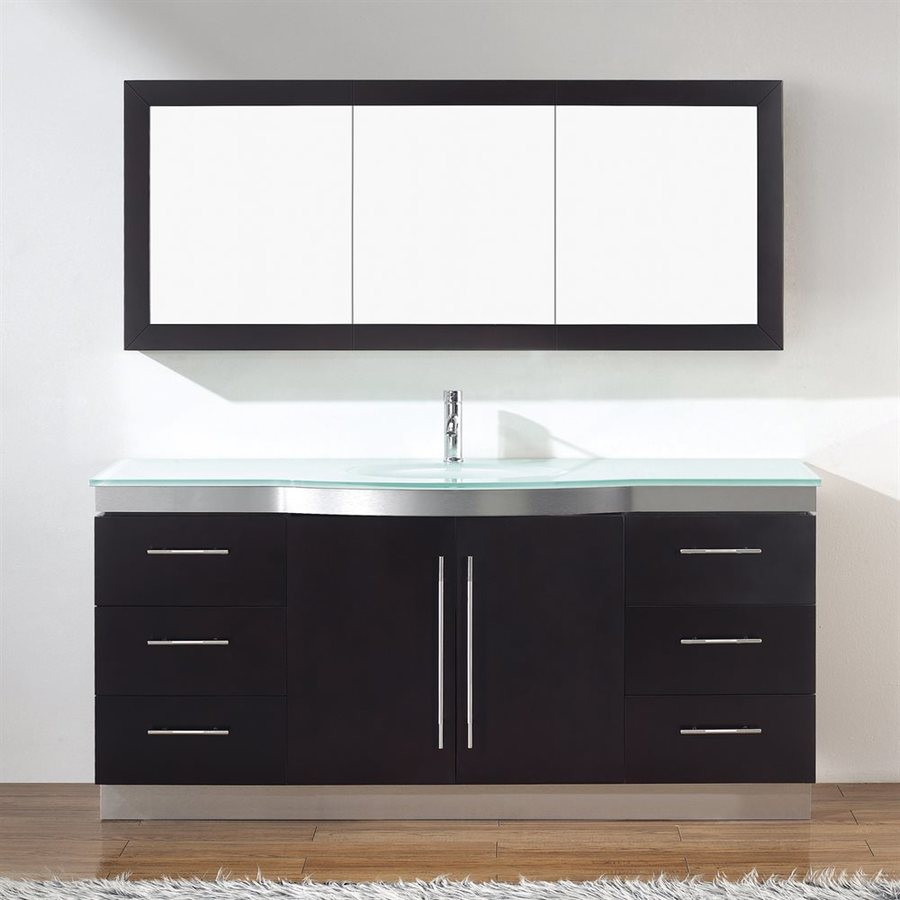 Spa Bathe Delucia Chai 72-in Integral Single Sink Bathroom Vanity with Glass Top (Mirror Included)