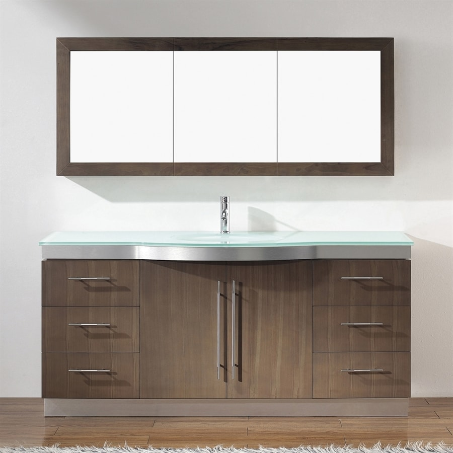Spa Bathe Delucia Smoked Ash Integrated Single Sink Bathroom Vanity with Glass Top (Common: 72-in x 22-in; Actual: 72-in x 22-in)