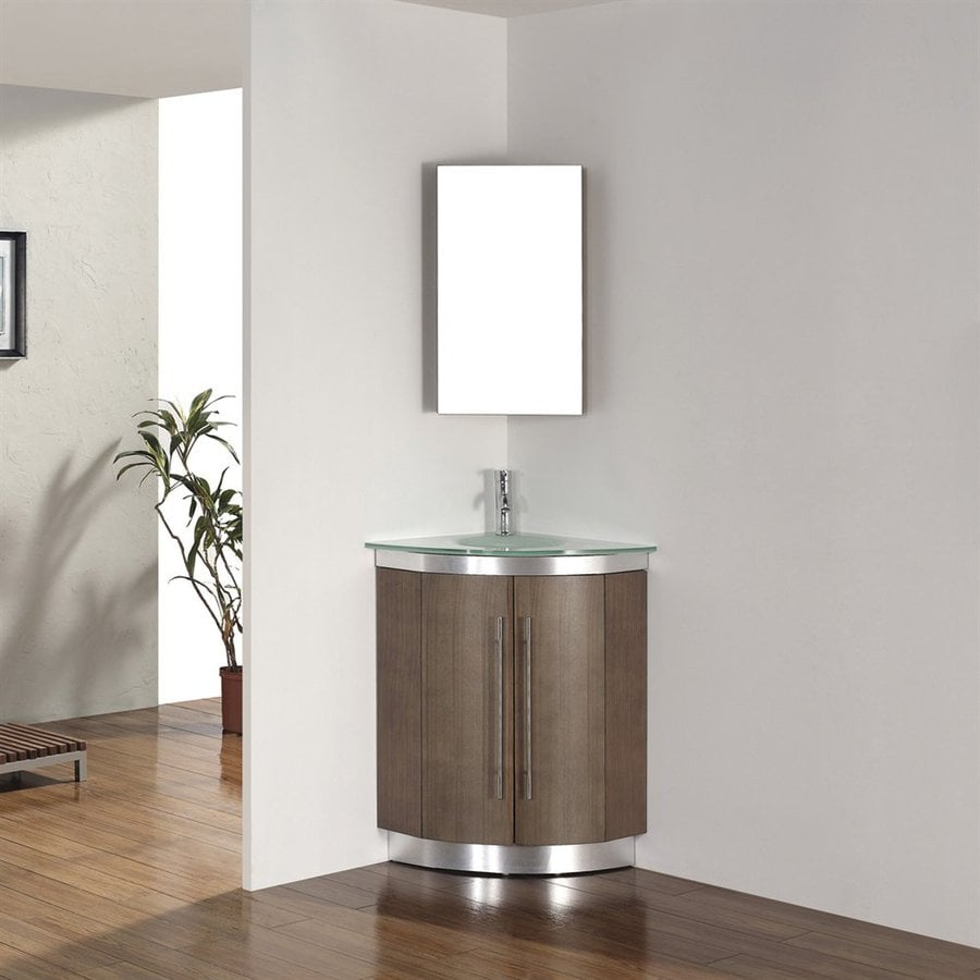 Spa Bathe Delucia Smoked Ash 24-in Integral Single Sink Bathroom Vanity with Glass Top (Mirror Included)