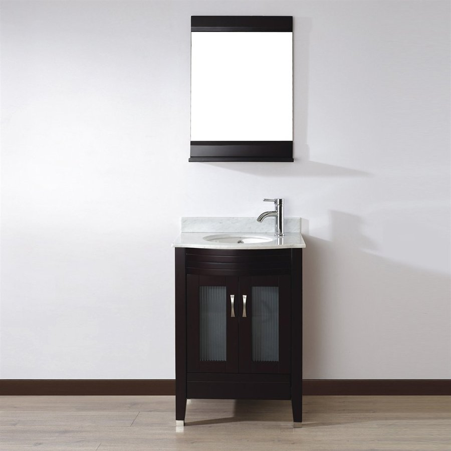 Spa Bathe Elva Chai 24-in Undermount Single Sink Bathroom Vanity with Natural Marble Top (Mirror Included)