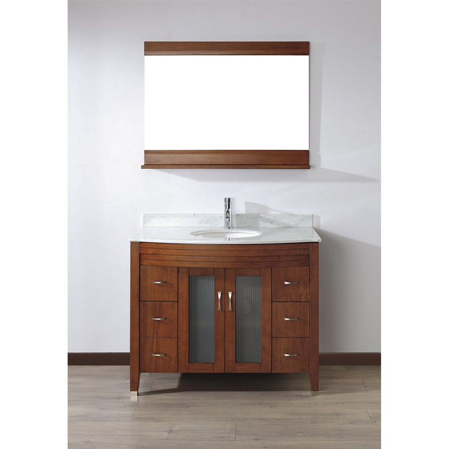 Spa Bathe Elva Classic Cherry Undermount Single Sink Bathroom Vanity with Natural Marble Top (Common: 42-in x 22-in; Actual: 42-in x 22-in)