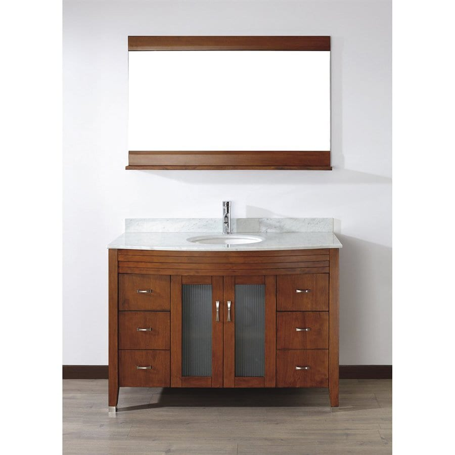 Spa Bathe Elva Classic Cherry Undermount Single Sink Bathroom Vanity with Natural Marble Top (Common: 48-in x 22-in; Actual: 48-in x 22-in)