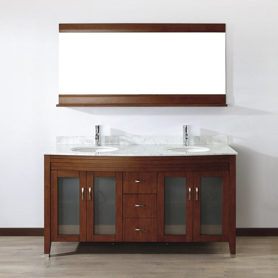Spa Bathe Elva Classic Cherry 63-in Undermount Double Sink Bathroom Vanity with Natural Marble Top (Mirror Included)