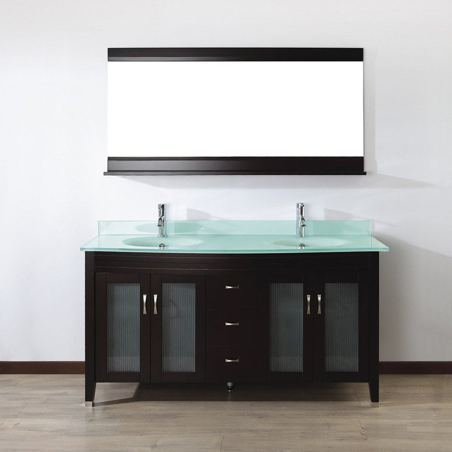 Spa Bathe Elva Chai Integrated Double Sink Bathroom Vanity with Glass Top (Common: 63-in x 22-in; Actual: 63-in x 22-in)