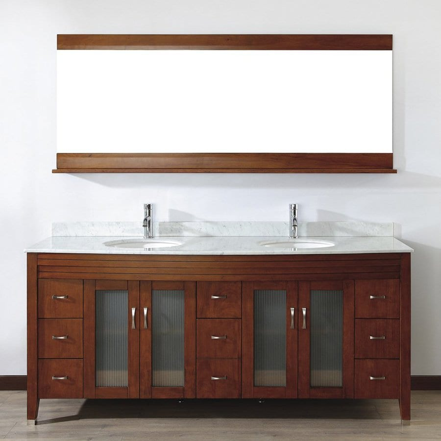 Spa Bathe Elva Classic Cherry 75-in Undermount Double Sink Bathroom Vanity with Natural Marble Top (Mirror Included)