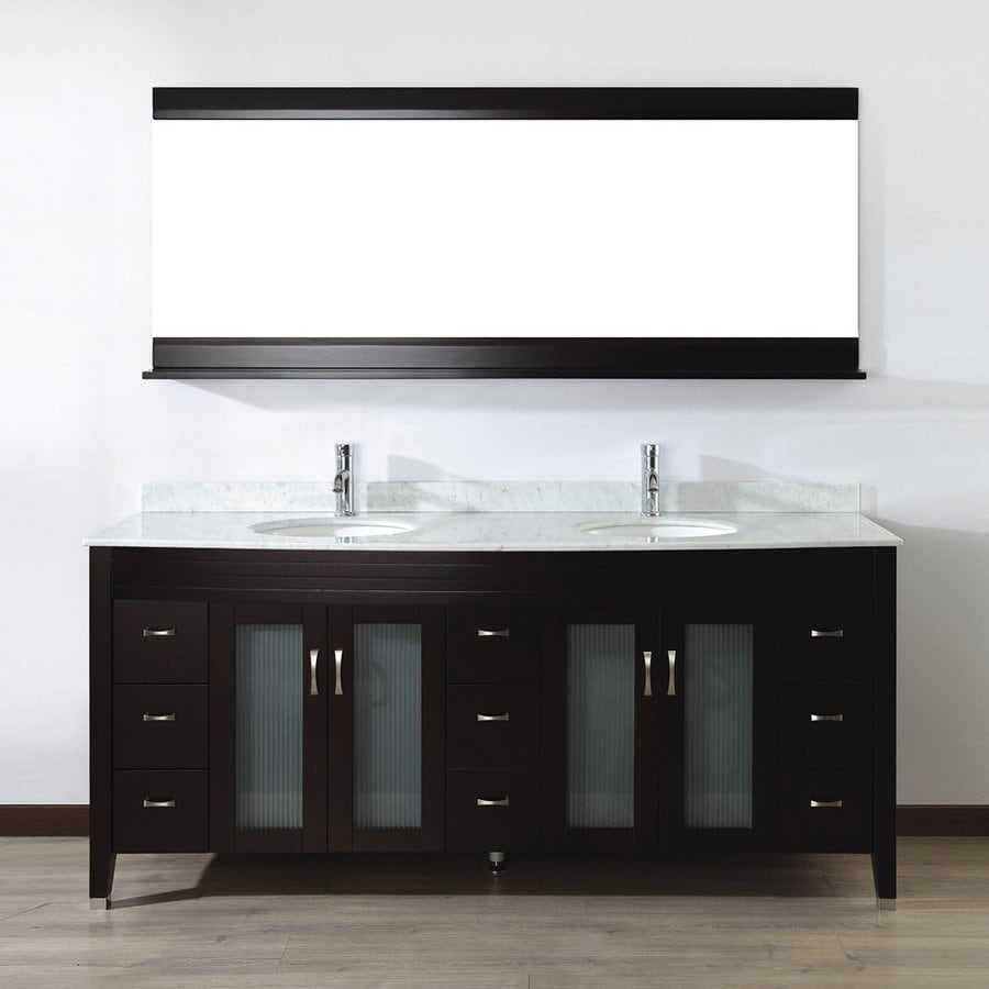 Spa Bathe Elva Chai 75-in Undermount Double Sink Bathroom Vanity with Natural Marble Top (Mirror Included)
